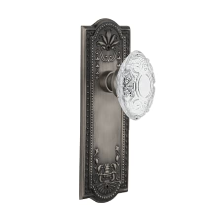 Nostalgic Warehouse 754108 Antique Pewter Vintage Crystal Victorian Passage Door Knob Set With Meadows Rose And 2 3 4 Backset Faucetdirect Com