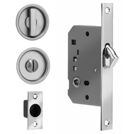 Omnia 3910s 26 Polished Chrome Privacy Pocket Door Mortise