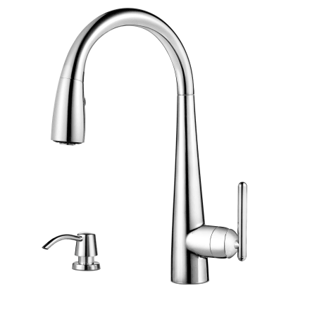 Pfister Gt529 Smc Polished Chrome Lita 3 Function Pullout Spray High Arc Kitchen Faucet With