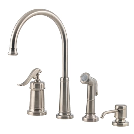 Pfister Gt26 4ypc Polished Chrome Ashfield High Arc Kitchen Faucet With Flex Line Supply Lines