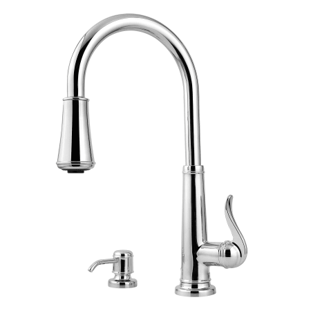 Pfister Gt529 Ypc Polished Chrome Ashfield 2 Function Pullout Spray High Arc Kitchen Faucet With