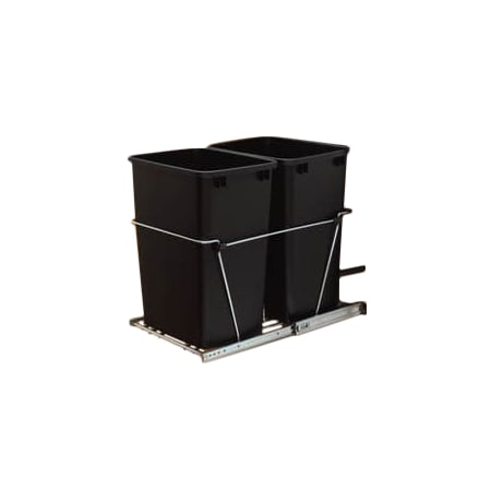 rev a shelf rv 18kd 17c s metallic silver rv series bottom mount double bin trash can with full. Black Bedroom Furniture Sets. Home Design Ideas