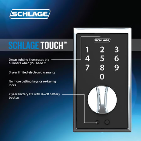 Schlage Fe375cen619lat Satin Nickel Century Touch Entry