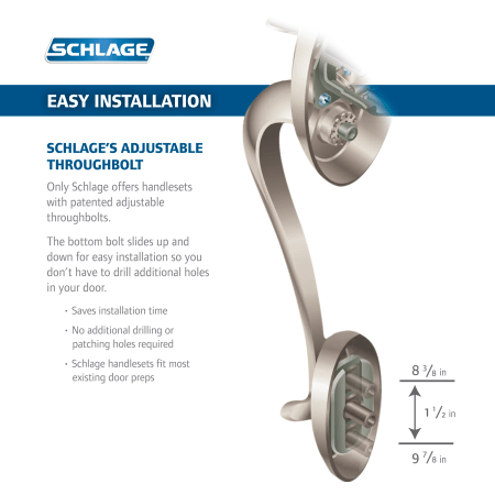 Schlage F58cen619 Satin Nickel Century Single Cylinder