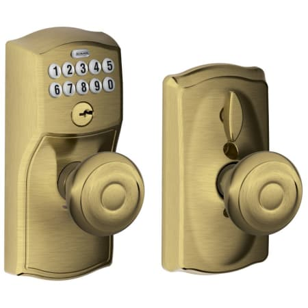 Schlage Fe595cam609geo Antique Brass Camelot Keypad Entry