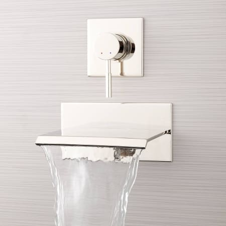 Signature Hardware 378997 Polished Nickel Lavelle 6 1 2 Waterfall Wall Mounted Tub Filler With Metal Lever Handle Diverter Faucetdirect