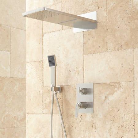 Signature Hardware 414750 Brushed Nickel Calhoun Shower System With Rainfall Shower
