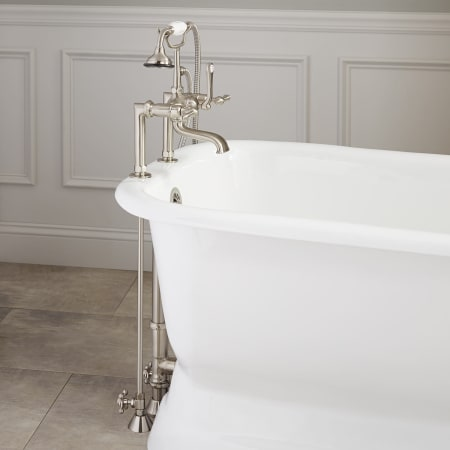 Signature Hardware 419712 Brushed Nickel Deck Mounted Clawfoot Tub