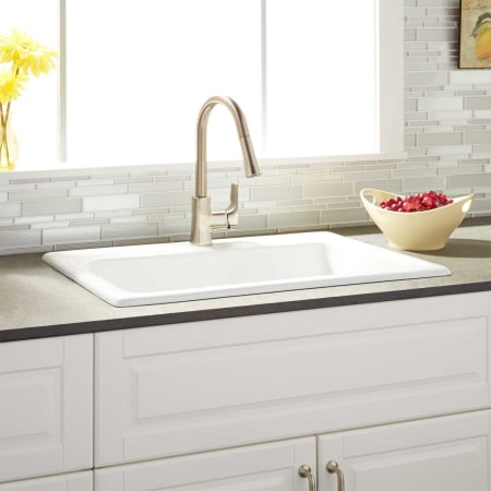 Signature Hardware 423070 White Ayeshire 30 Drop In Single Basin