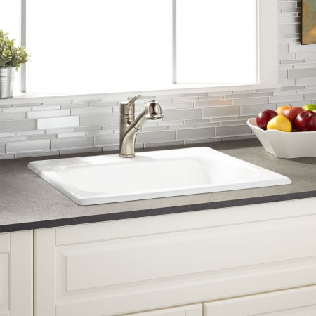 Signature Hardware 423653 White Kilane 25 Drop In Single Basin Cast