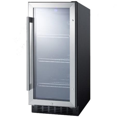 Summit 15 inch glass door beverage center scr1536bg for 15 inch door