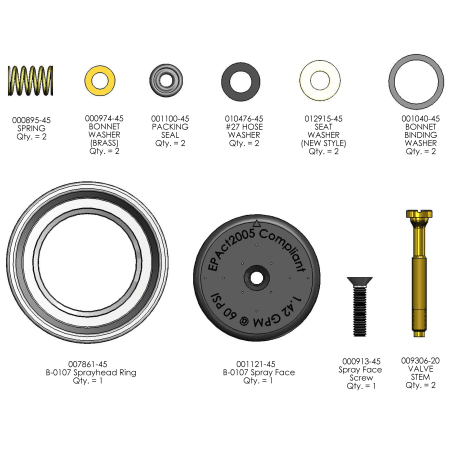 T and S Brass 943561 N/A Repair Kit for B-0107 Pre-Rinse Spray Valve
