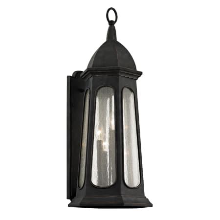 Troy Lighting B6363 Vintage Iron Astor 4 Light 30 3 4 Tall Outdoor Wall Sconce With Seedy Glass Lantern Shade Lightingshowplace Com