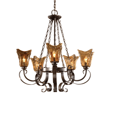 Uttermost 21007 Oil Rubbed Bronze 5 Light Single Tier Chandelier With Handmade Glass Shades From
