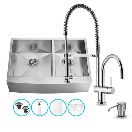 Vigo vg15196 stainless steel 36 double basin farmhouse apron front kitchen sink with dresden - Vigo sink accessories ...