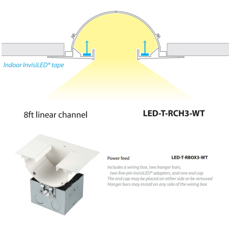 wac lighting led t rch3 wt white invisiled recessed channels 8 foot a large image of the wac lighting led t rch3 wac lighting led