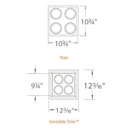 Wac Lighting Mt 4ld226t Bk Black Precision Multiples 4 4 Light Adjustable Square Trim Lightingshowplace Com