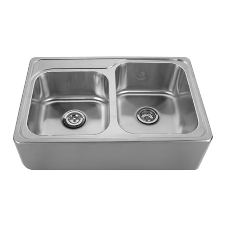 whitehaus whnap3322 brushed stainless steel double bowl drop in sink with seamless customized. Black Bedroom Furniture Sets. Home Design Ideas