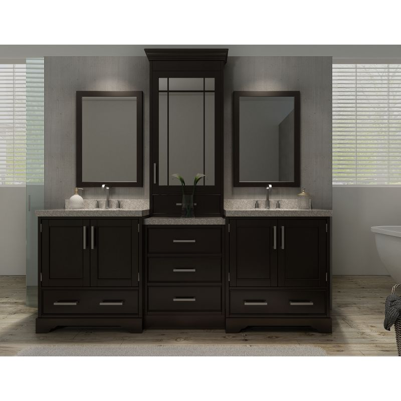 Ariel M085d Esp Espresso Stafford 84 Free Standing Double Vanity Set With Wood Cabinet And Quartz Top Faucet