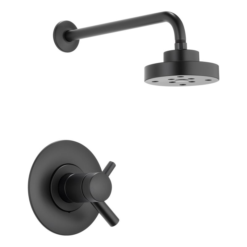 black shower head and faucet. Brizo T60275 BL Matte Black Shower Trim Package With Single Function  H2Okinetic Head And TempAssure Technologies From The Odin Collection Faucet