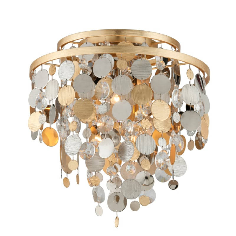 Corbett Lighting 215 33 Gold And Silver Leaf Ambrosia 3 Light 18 Wide Flush Mount Ceiling Fixture With Crystal Accents Lightingshowplace Com