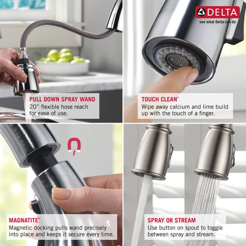 Delta 9159 Ks Dst Black Stainless Trinsic Pull Down Kitchen Faucet With Magnetic Docking Spray Head Includes Lifetime Warranty Faucet Com
