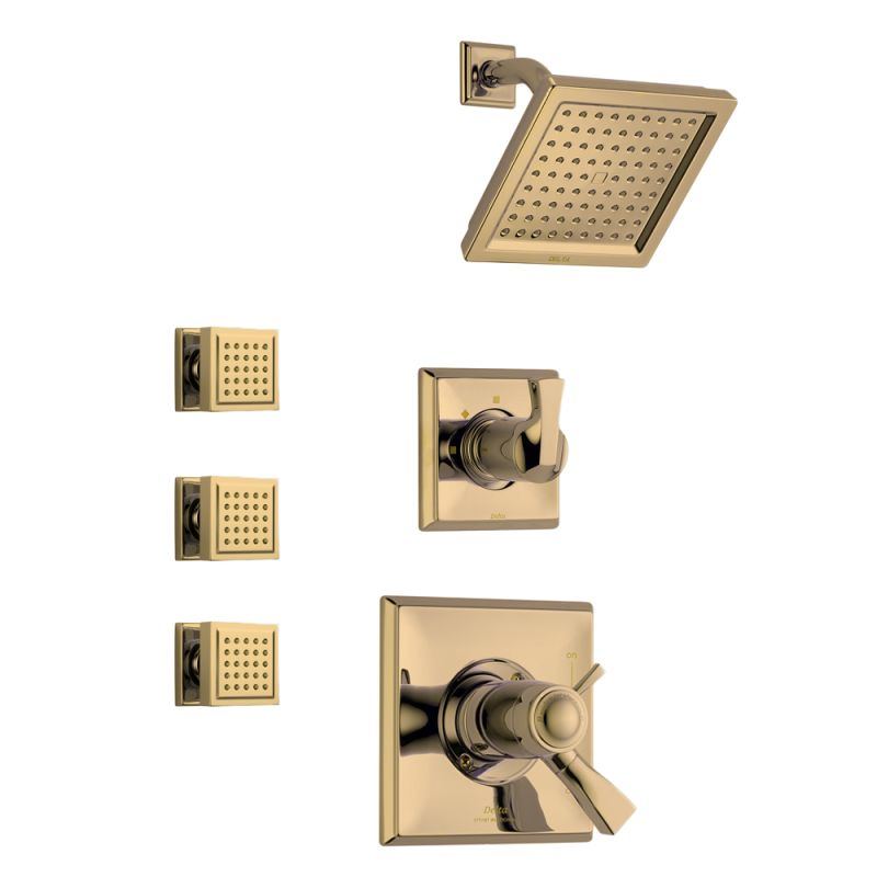 Delta Dryden Tempure Shower Package Ss Brilliance Stainless With Thermostatic Trim Diverter And 3 Body Sprays Faucet