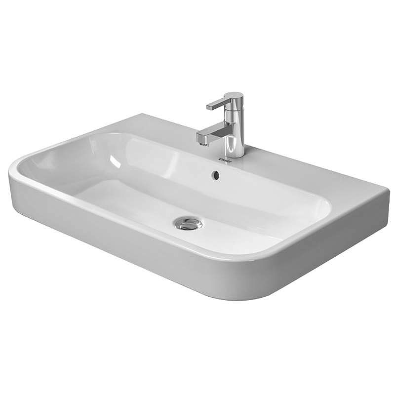 Duravit 23186500001 White Wondergliss Hy D 2 Ceramic 25 5 8 Bathroom Sink For Vanity Wall Mounted Or Console Installations With Single Faucet Hole