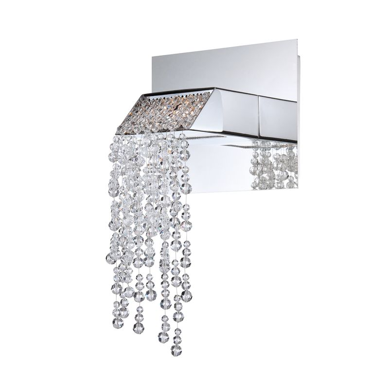 eurofase lighting chrome fonte 3 light crystal led wall sconce with hanging crystal accents