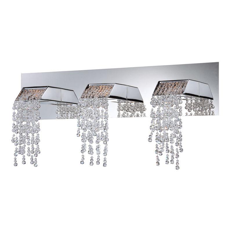 eurofase lighting chrome fonte 3 light crystal led bathroom vanity light