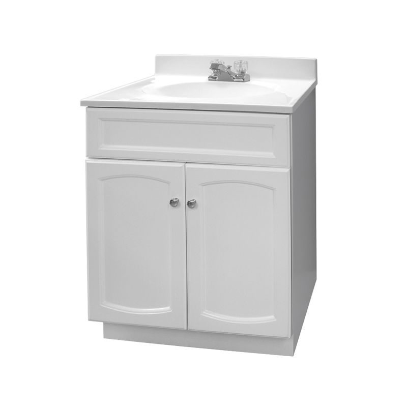 Foremost Hew2418 Pp White Heartland 24 Free Standing Vanity Set With Wood Cabinet Cultured Marble Top One Integrated Sink And Centerset Faucet