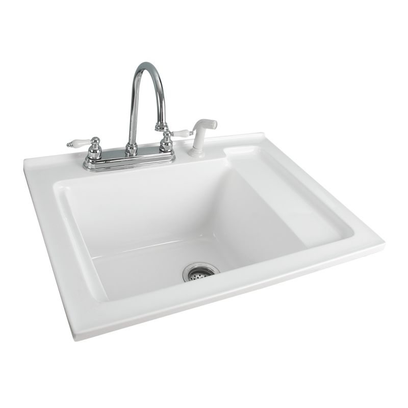 Foremost Ls 3021 W White Berkshire Laundry Sink Acrylic With Shelf 30 5 Faucet