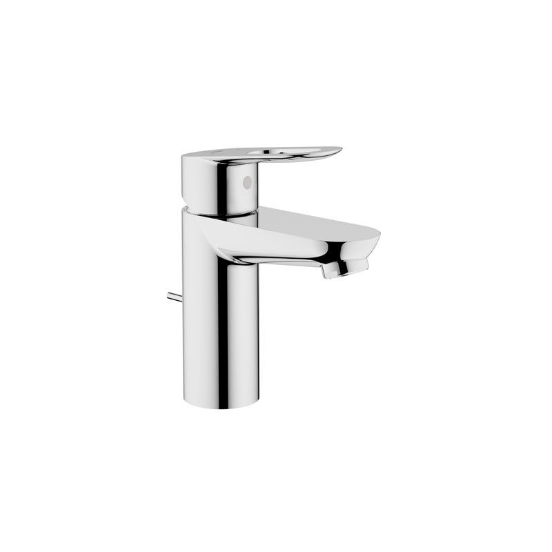 Grohe 23084000 Starlight Chrome BauLoop Single Hole Bathroom Faucet with SilkMove and WaterCare Technologies - Free Metal Pop-Up Drain Assembly with ...