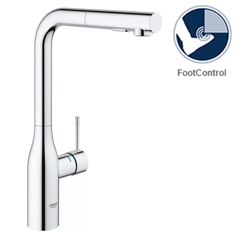 Grohe 30271000FC Starlight Chrome Essence Pull-Out Kitchen Faucet ...