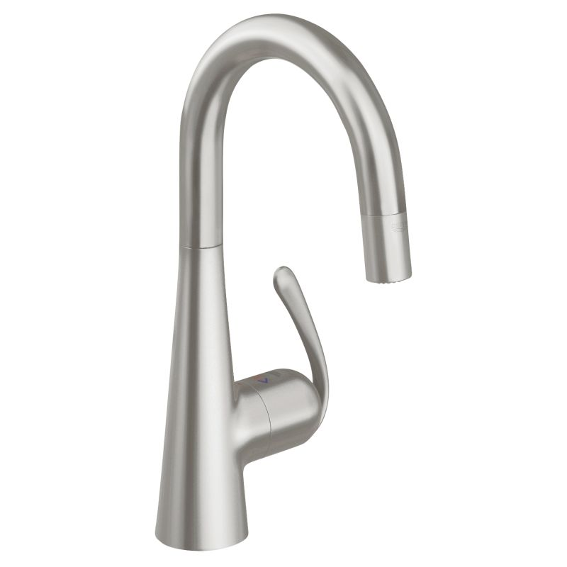 Grohe 32283DC0 SuperSteel Ladylux3 Pro High-Arc Bar Faucet with 2 ...