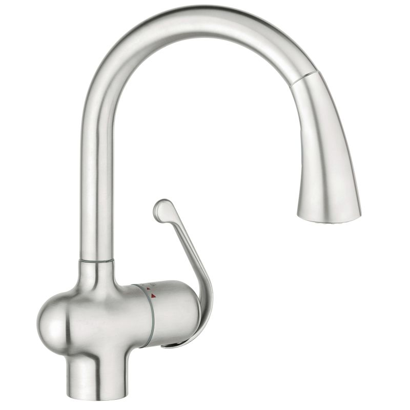 Grohe 33755sd1 Stainless Steel Ladylux Pull Down High Arc Kitchen