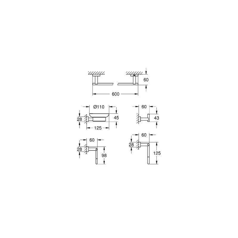 Chrome Cromo Grohe 40758001 Ba/ño Set 5 in 1