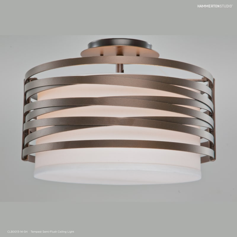 Hammerton Studio Clb0013 14 Fb Sh E2 Flat Bronze Tempest 2 Light 14 Wide Semi Flush Drum Ceiling Fixture Medium E26 With White Linen Inner And Finished To Match Metal Outer Shade Lightingdirect Com