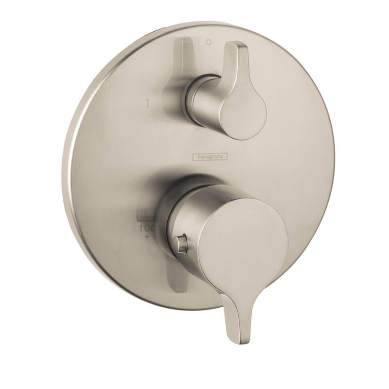 hansgrohe shower valve. Hansgrohe 04353820 Brushed Nickel S/E Thermostatic Valve Trim With Integrated Diverter And Volume Controls - Less Faucet.com Shower I