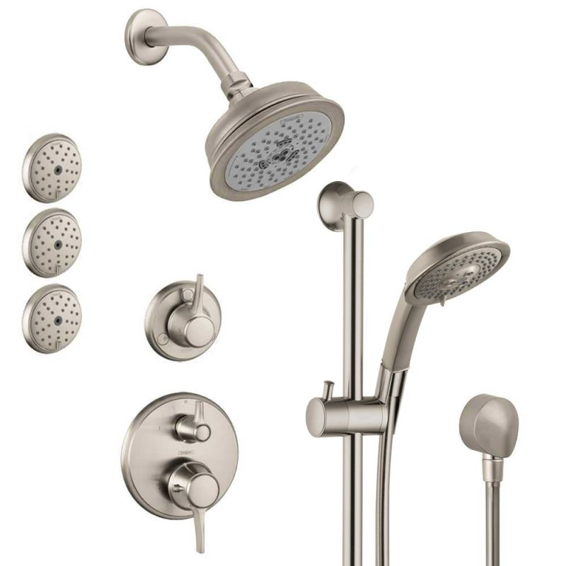 Hansgrohe HSS-C-T03-820 Brushed Nickel C Thermostatic Shower System ...