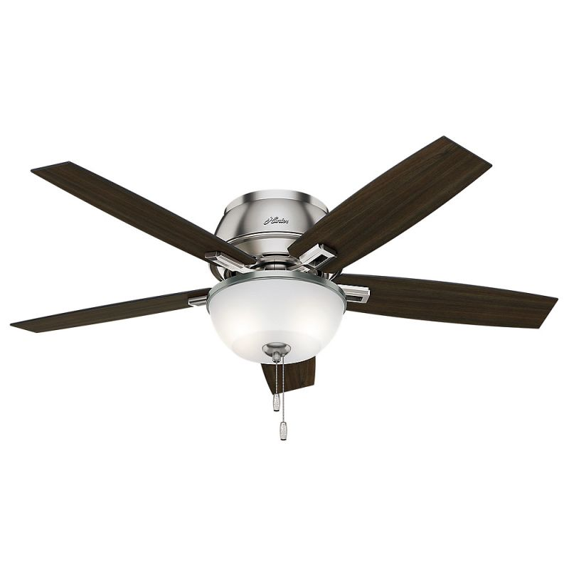 Hunter 53344 brushed nickel 52 indoor ceiling fan 5 reversible hunter 53344 brushed nickel 52 indoor ceiling fan 5 reversible blades and light kit included lightingdirect aloadofball Gallery