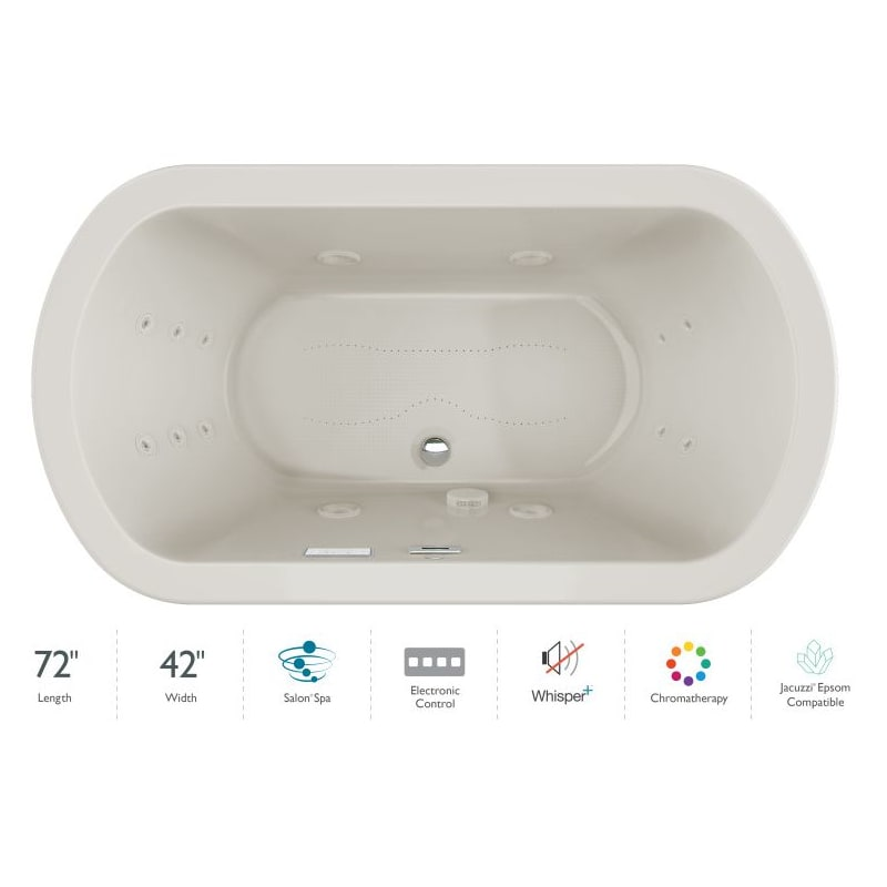 Jacuzzi Due7242ccr4cpyy Oyster Oyster Trim Duetta 72 Drop In Spa Combination Bathtub With Center Drain Whisper Technology And Chromatherapy Faucet Com