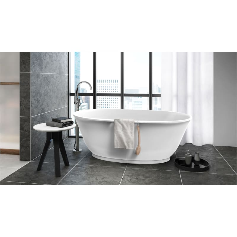 Jacuzzi Kaf6534bcxxxxg White Gloss Karina 65 Free Standing Stone Composite Soaking Tub With Center Drain Pop Up Drain Assembly And Overflow Faucet Com