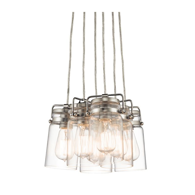 Kichler 42877ni brushed nickel brinley 6 light 12 wide pendant with kichler 42877ni brushed nickel brinley 6 light 12 wide pendant with canning jar style shades lightingdirect aloadofball Image collections