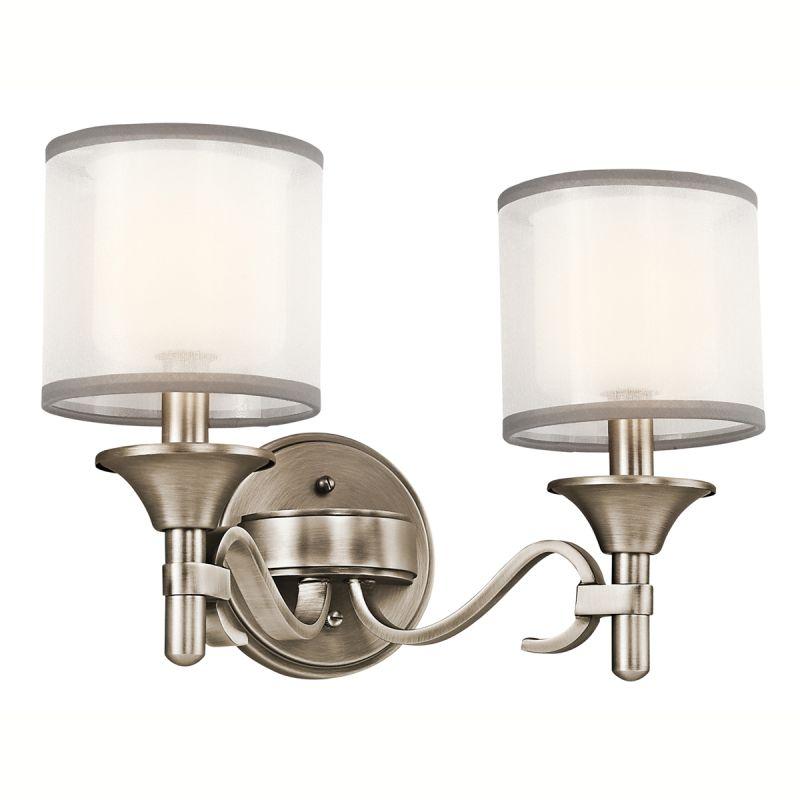Kichler 45282ap Antique Pewter Lacey 14 Wide 2 Bulb Bathroom Lighting Fixture Lightingdirect Com