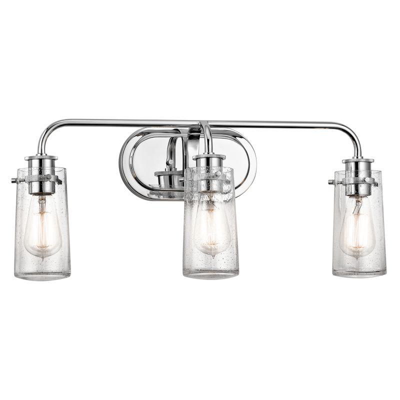 "Bathroom Vanity Lights In Chrome kichler 45459ch chrome braelyn 3 light 24"" wide bathroom vanity"