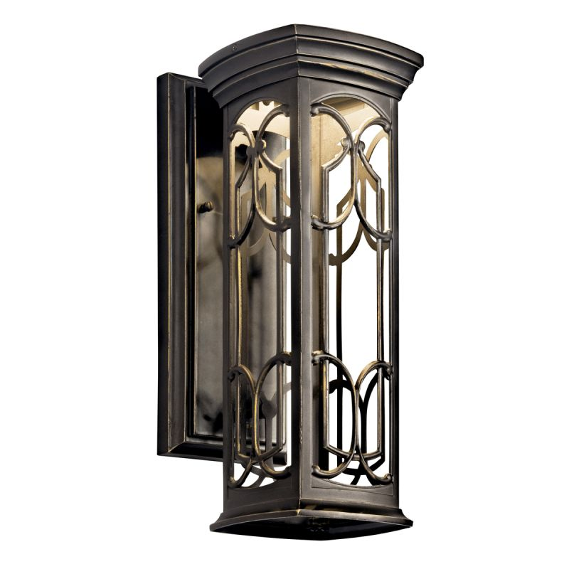 Kichler 49226ozled olde bronze franceasi single light 15 tall led kichler 49226ozled olde bronze franceasi single light 15 tall led outdoor wall sconce with patterned metal frame lightingdirect workwithnaturefo