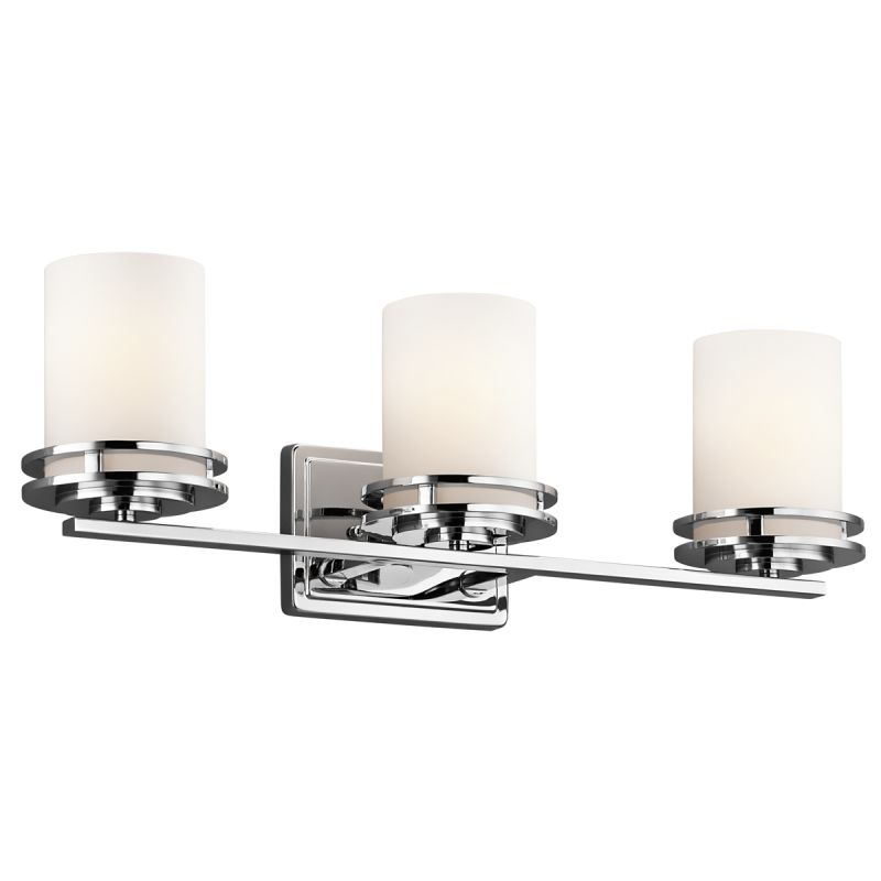 Kichler 5078ni brushed nickel hendrik 3 light 24 wide vanity light kichler 5078ni brushed nickel hendrik 3 light 24 wide vanity light bathroom fixture with satin etched glass shades lightingdirect aloadofball Images