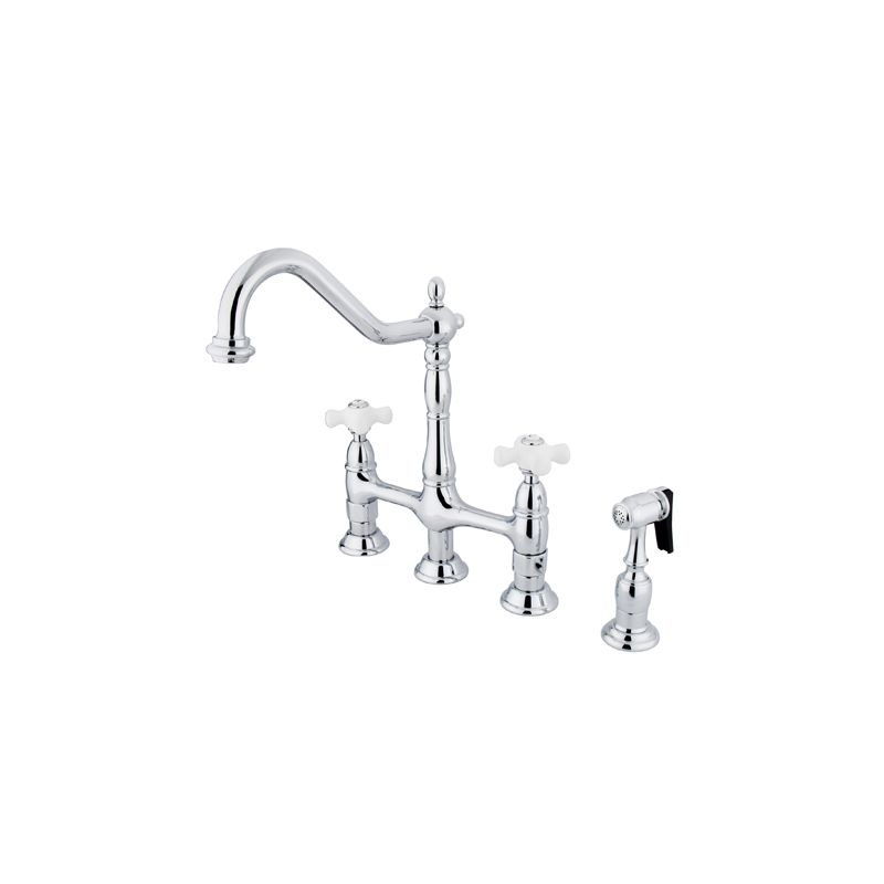 Kingston Br Ks1272pxbs Polished Heritage 1 8 Gpm Double Handle Bridge Style Kitchen Faucet Includes Side Spray