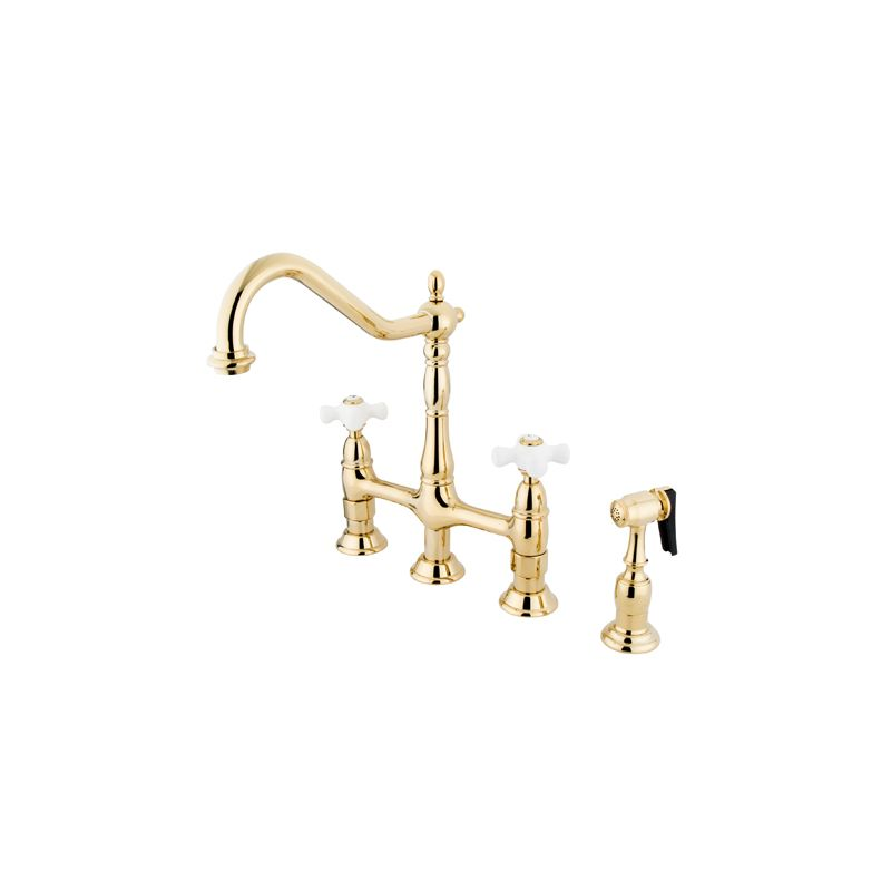 Kingston Br Ks1271pxbs Polished Chrome Heritage 1 8 Gpm Double Handle Bridge Style Kitchen Faucet Includes Side Spray
